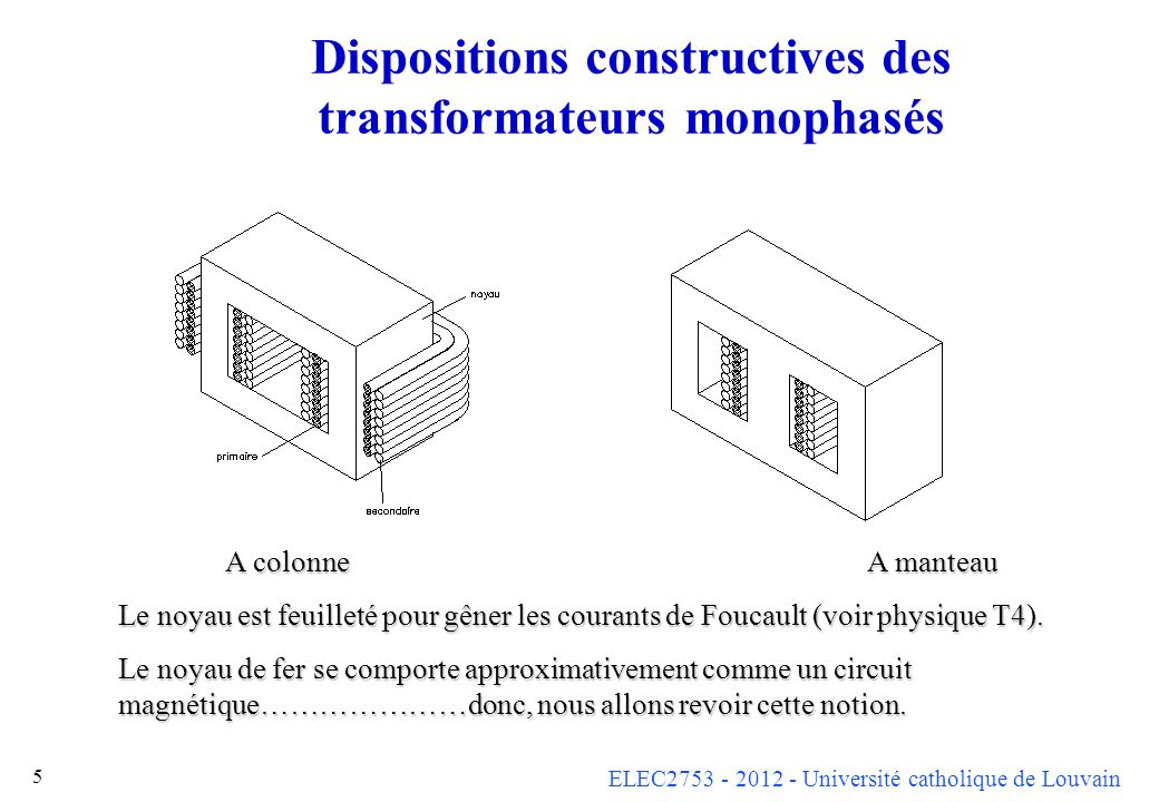 Dispositions constructives des transformateurs monophasés