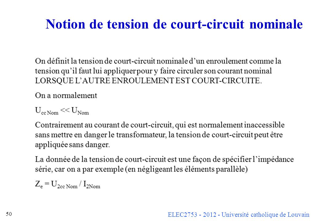 Notion de tension de court-circuit nominale