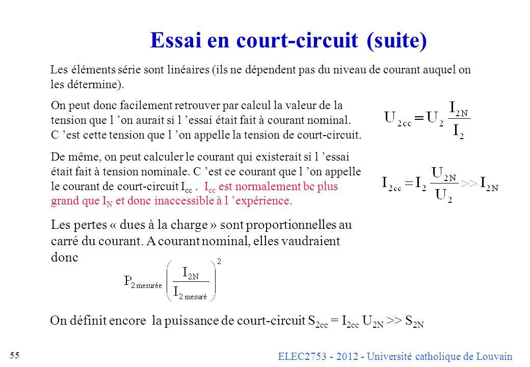 Essai en court-circuit (suite)