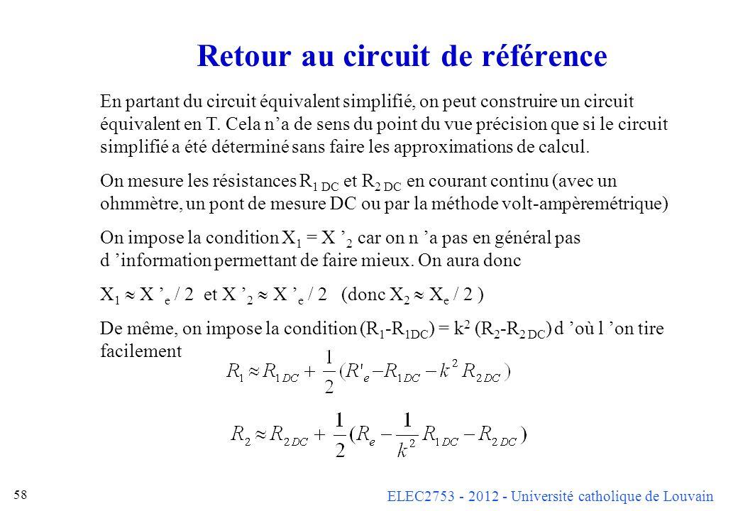 Retour au circuit de référence