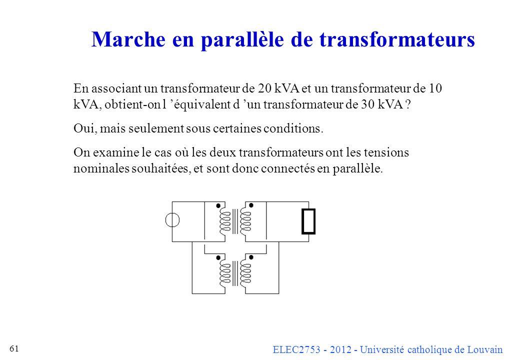 Marche en parallèle de transformateurs