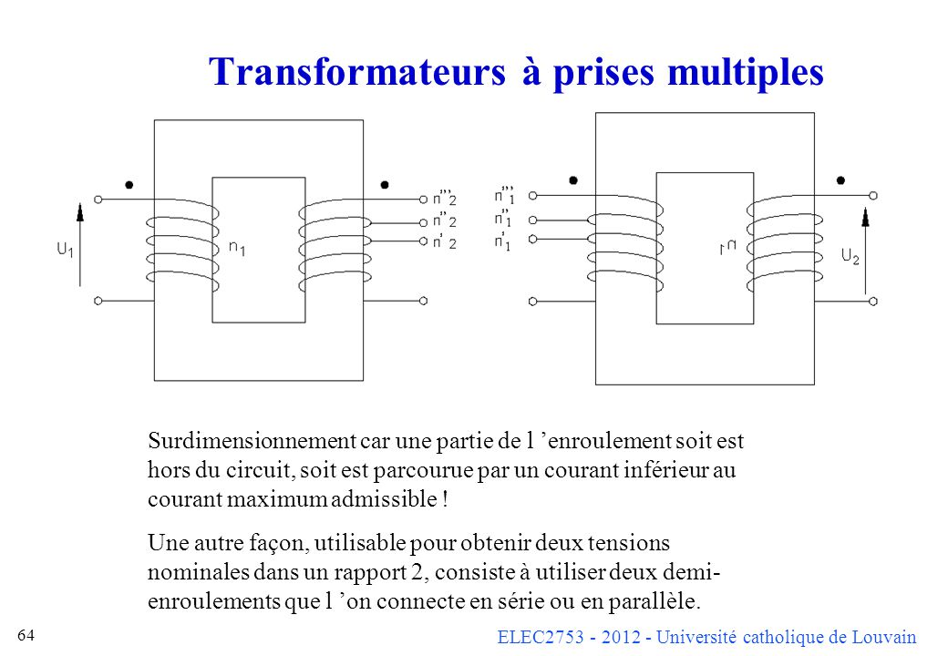 Transformateurs à prises multiples