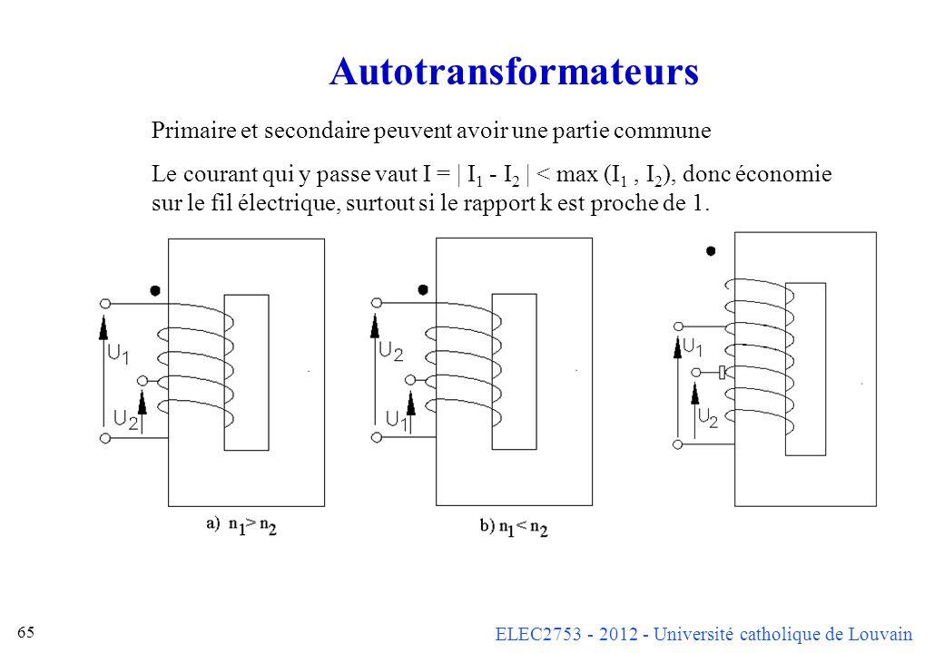 Autotransformateurs Primaire et secondaire peuvent avoir une partie commune.
