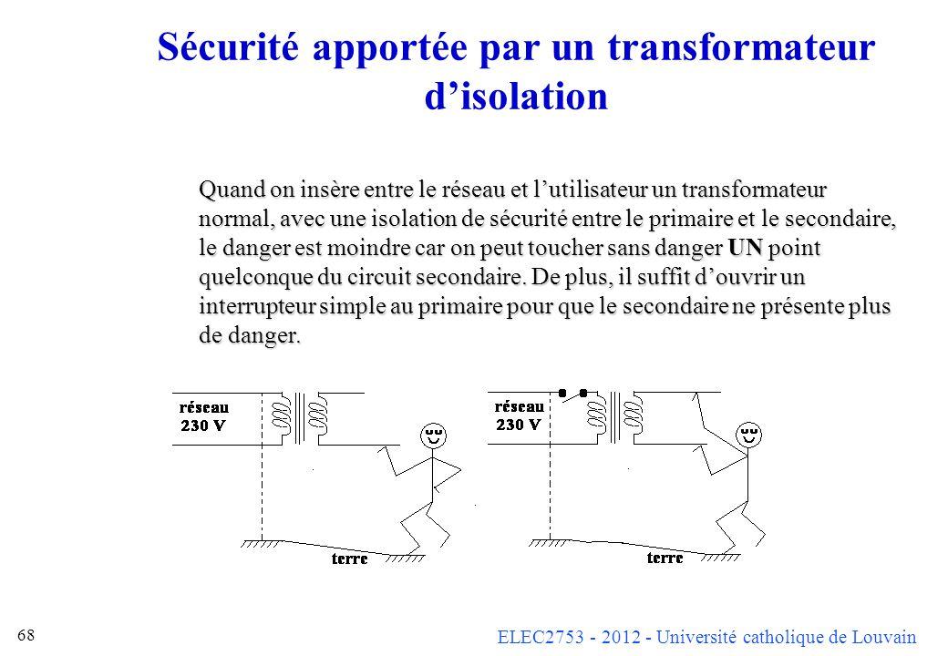 Sécurité apportée par un transformateur d'isolation