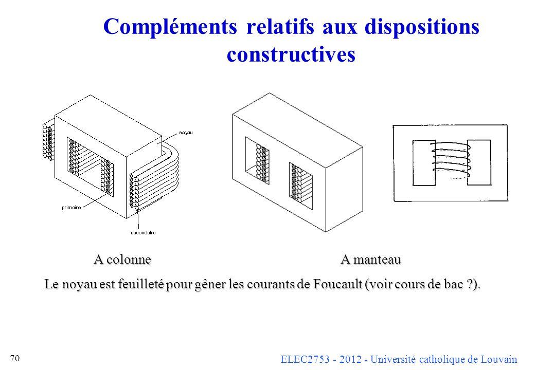 Compléments relatifs aux dispositions constructives