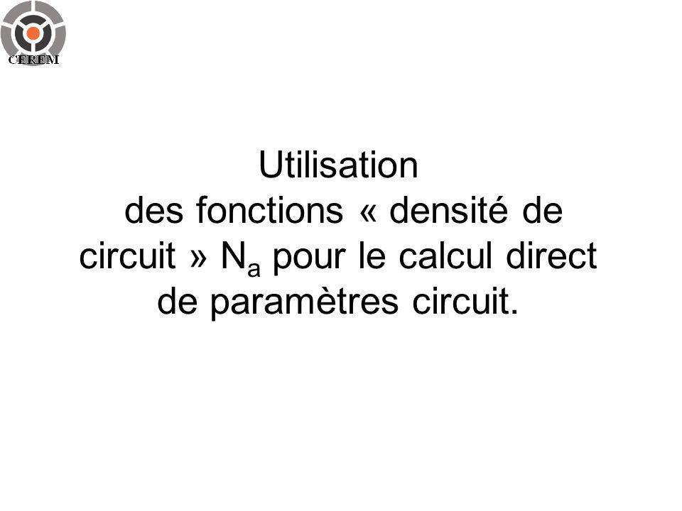 Utilisation des fonctions « densité de circuit » Na pour le calcul direct de paramètres circuit.