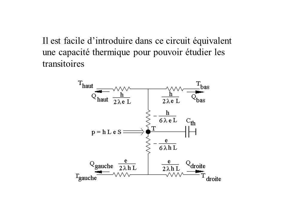 Il est facile d'introduire dans ce circuit équivalent une capacité thermique pour pouvoir étudier les transitoires