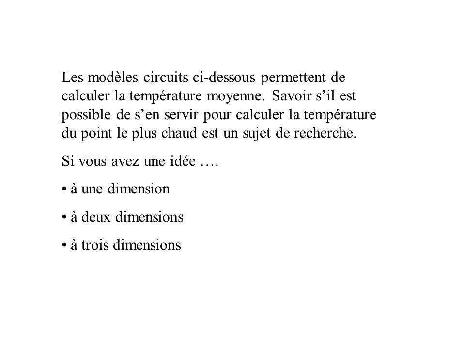 Les modèles circuits ci-dessous permettent de calculer la température moyenne. Savoir s'il est possible de s'en servir pour calculer la température du point le plus chaud est un sujet de recherche.
