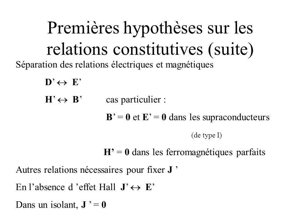 Premières hypothèses sur les relations constitutives (suite)
