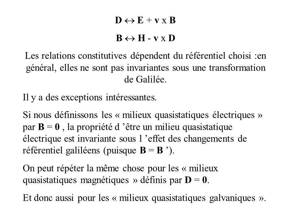 D  E + v x B B  H - v x D.
