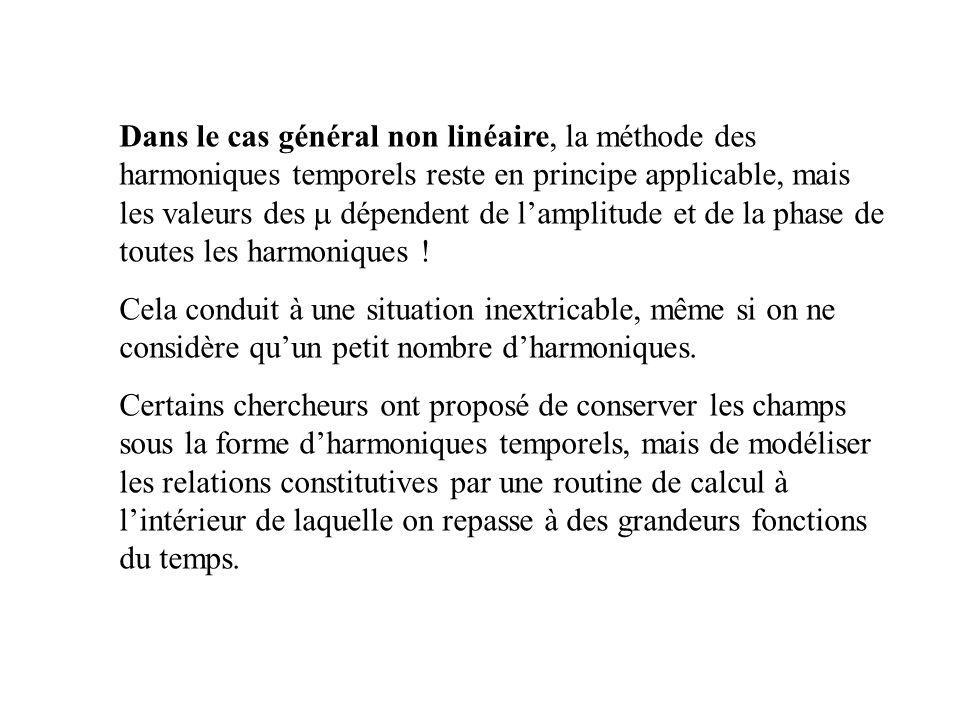 Dans le cas général non linéaire, la méthode des harmoniques temporels reste en principe applicable, mais les valeurs des m dépendent de l'amplitude et de la phase de toutes les harmoniques !