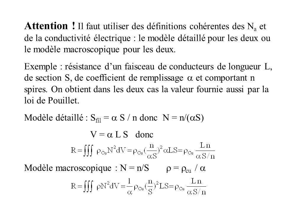 Attention ! Il faut utiliser des définitions cohérentes des Na et de la conductivité électrique : le modèle détaillé pour les deux ou le modèle macroscopique pour les deux.