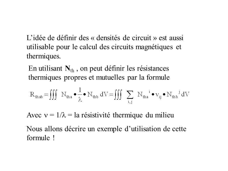 L'idée de définir des « densités de circuit » est aussi utilisable pour le calcul des circuits magnétiques et thermiques.