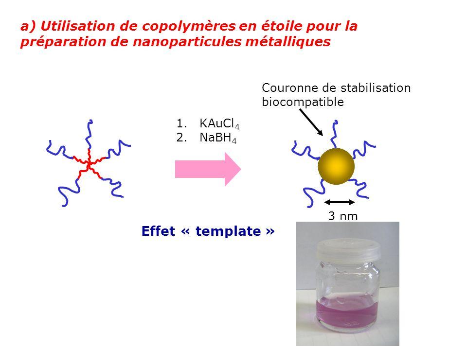 a) Utilisation de copolymères en étoile pour la préparation de nanoparticules métalliques