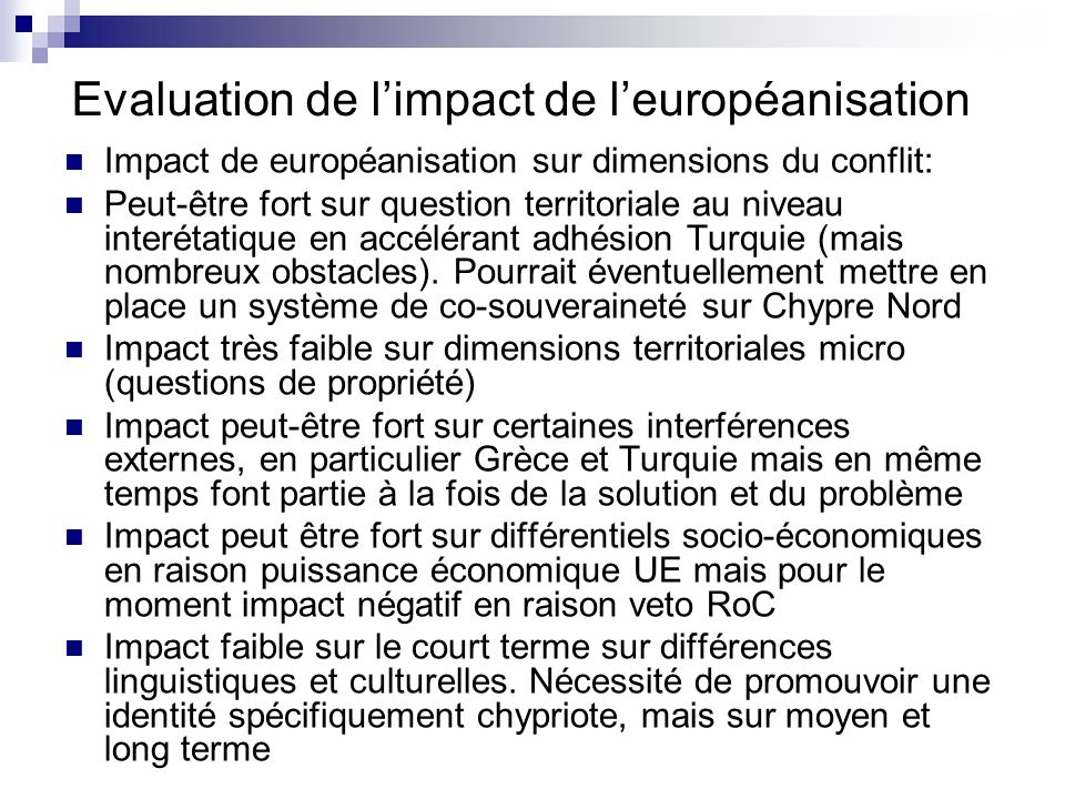 Evaluation de l'impact de l'européanisation