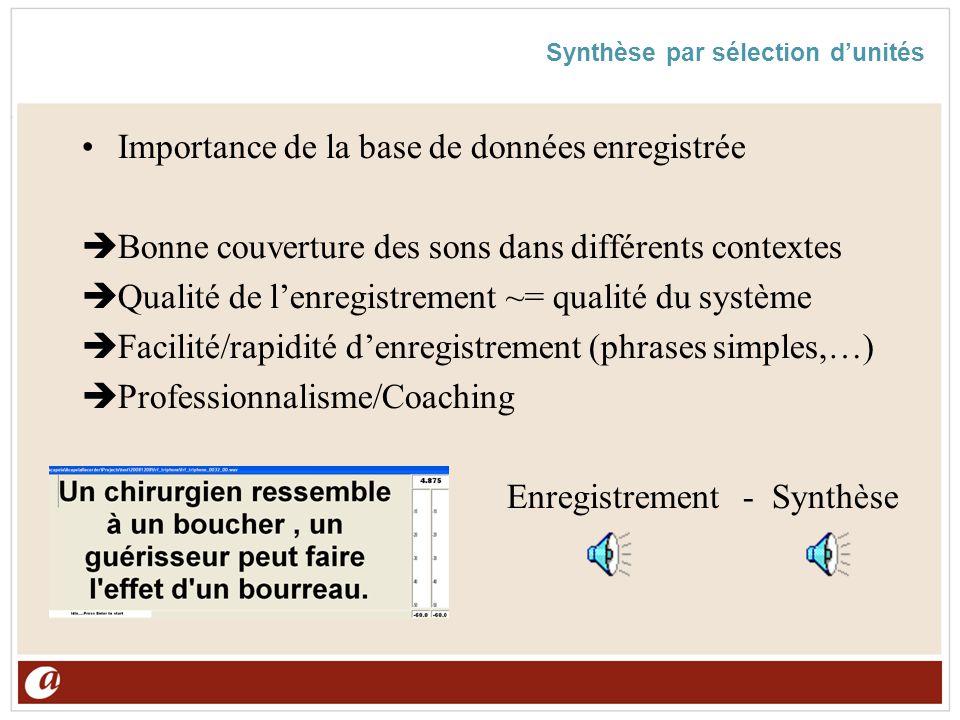 Synthèse par sélection d'unités