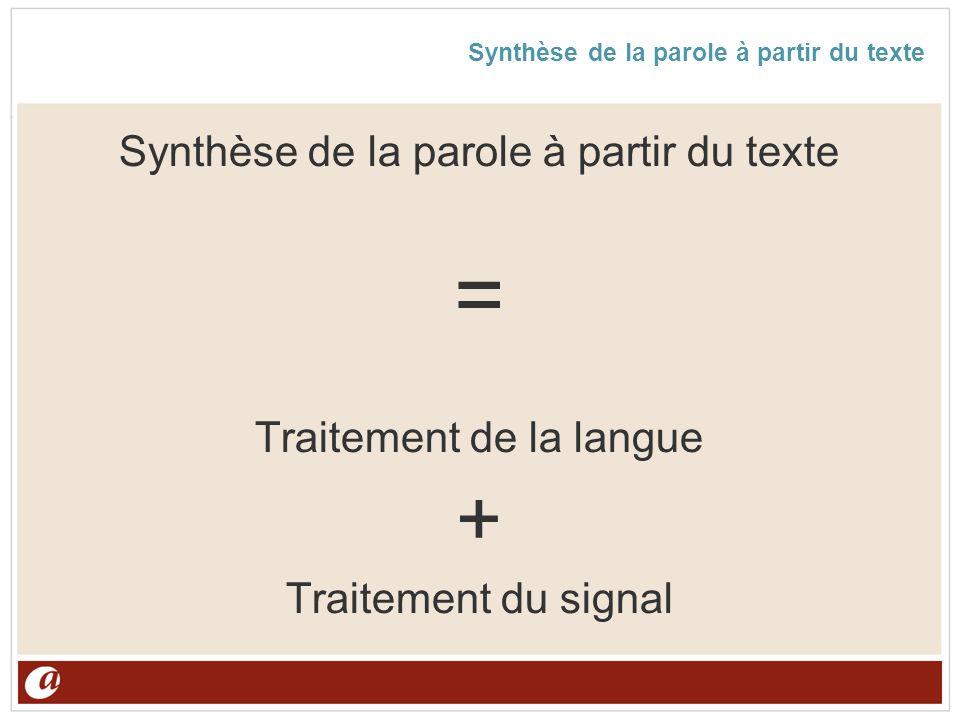 Synthèse de la parole à partir du texte