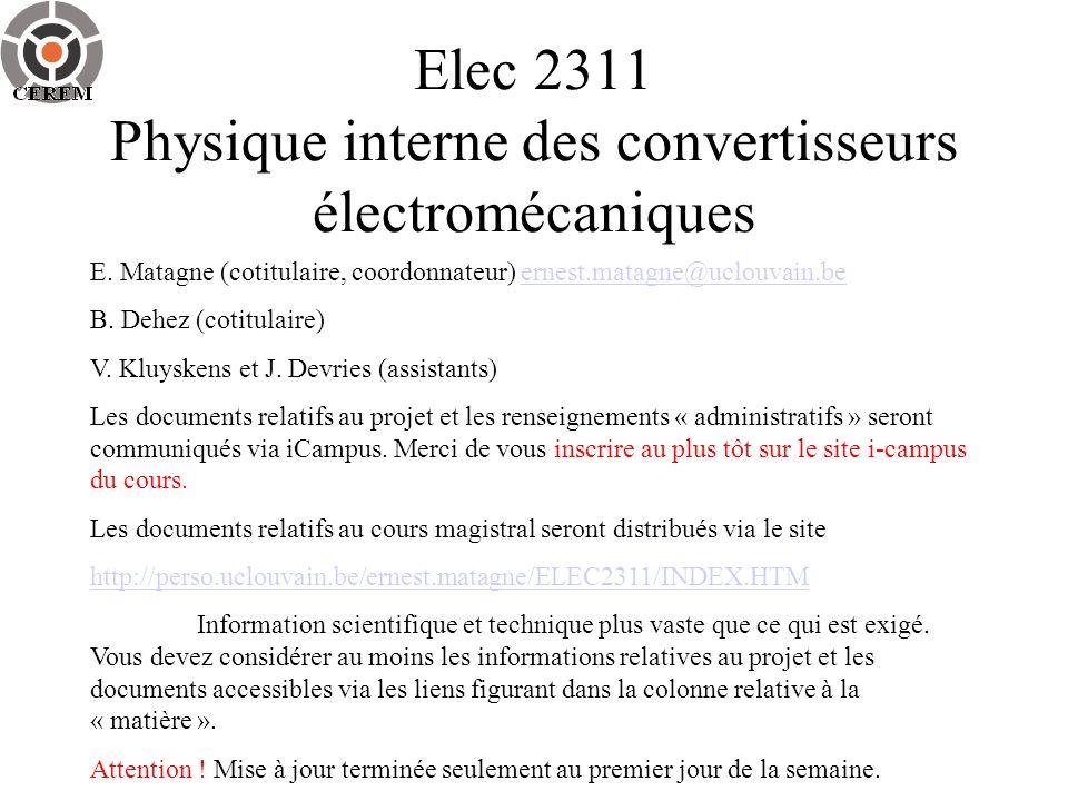 Elec 2311 Physique interne des convertisseurs électromécaniques