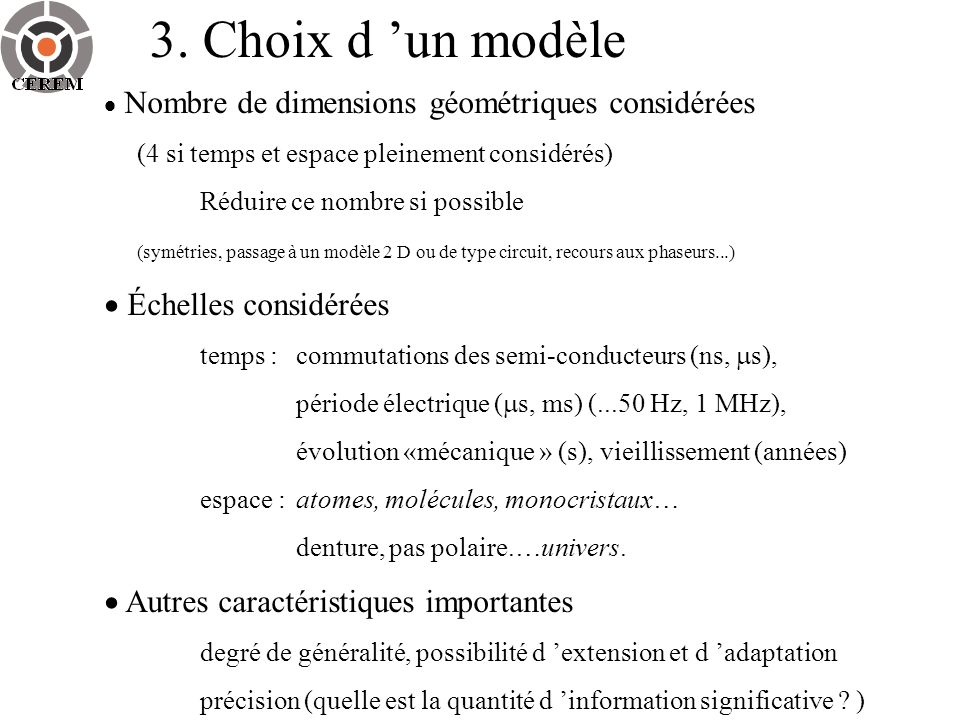 3. Choix d 'un modèle  Échelles considérées