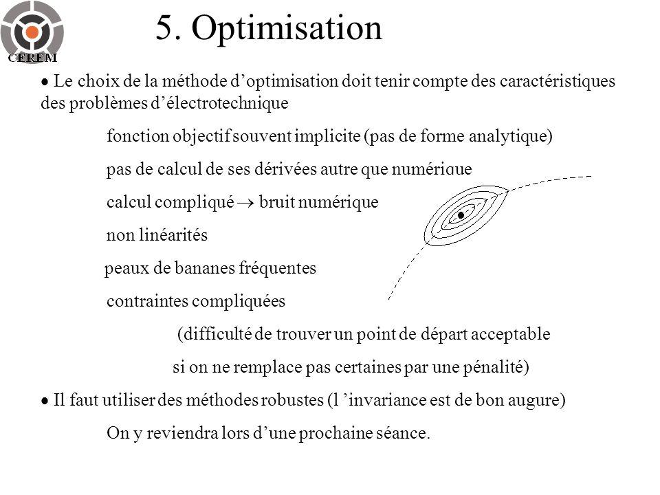 5. Optimisation  Le choix de la méthode d'optimisation doit tenir compte des caractéristiques des problèmes d'électrotechnique.