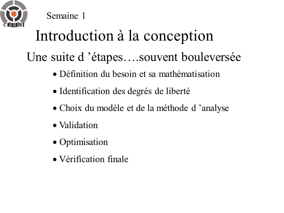 Introduction à la conception