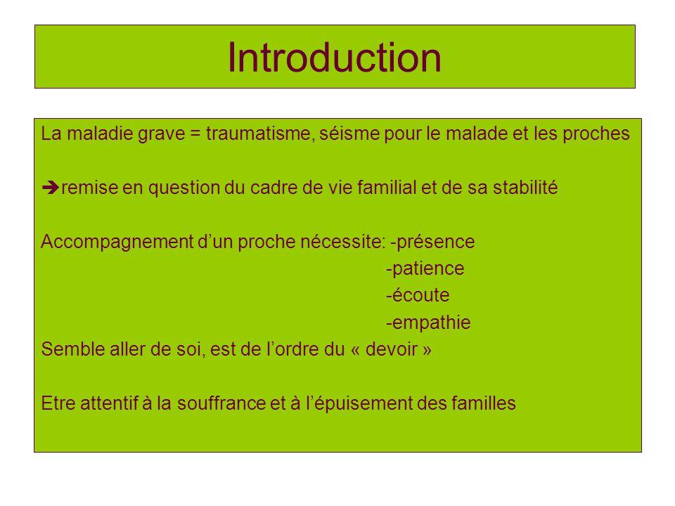 Introduction La maladie grave = traumatisme, séisme pour le malade et les proches. remise en question du cadre de vie familial et de sa stabilité.