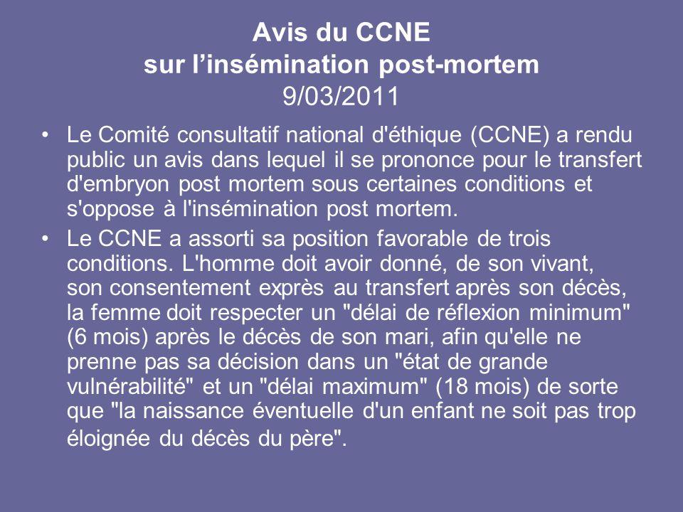 Avis du CCNE sur l'insémination post-mortem 9/03/2011