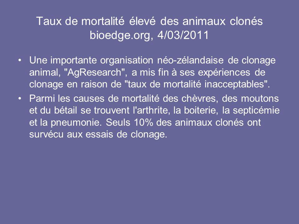 Taux de mortalité élevé des animaux clonés bioedge.org, 4/03/2011