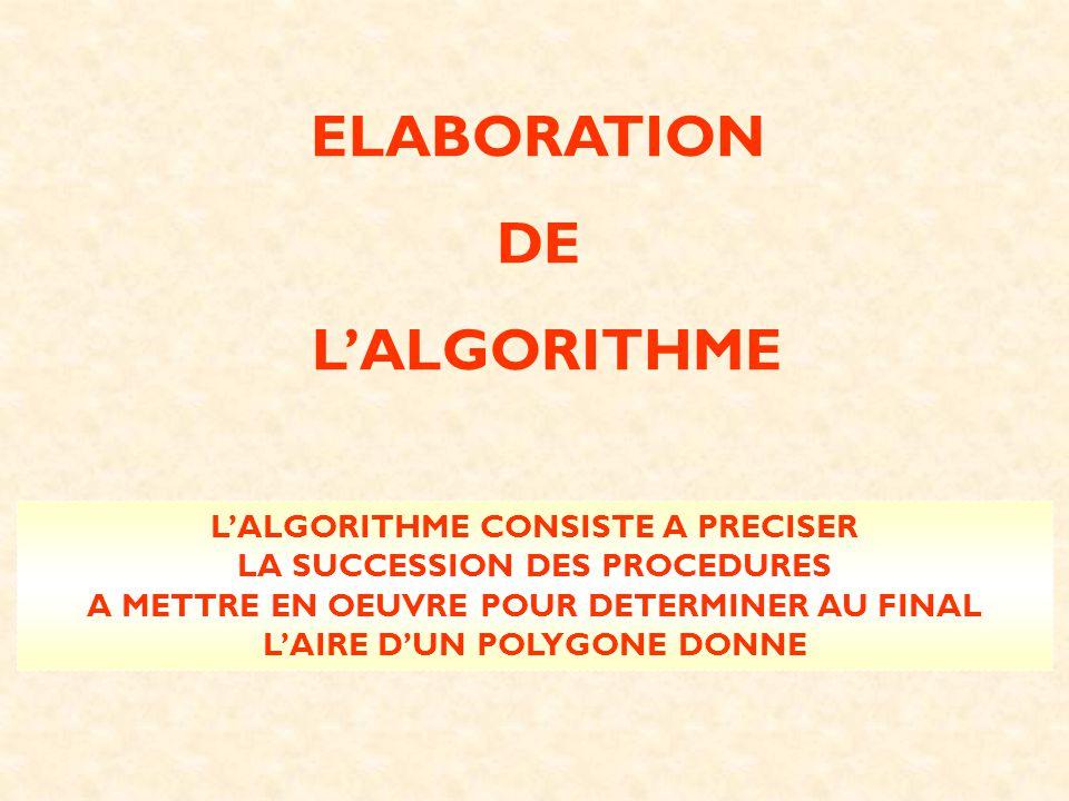 ELABORATION DE L'ALGORITHME