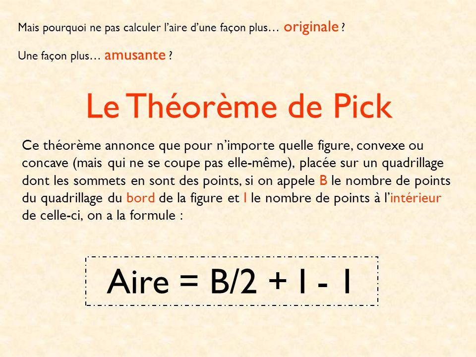 Le Théorème de Pick Aire = B/2 + I - 1