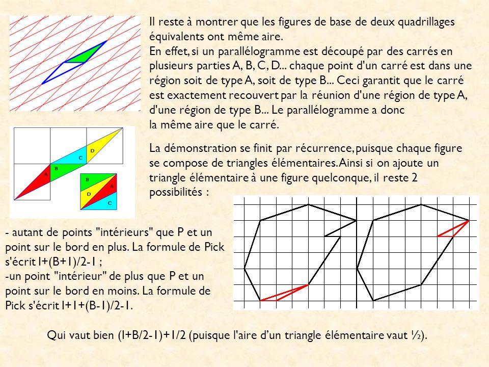 Il reste à montrer que les figures de base de deux quadrillages équivalents ont même aire.