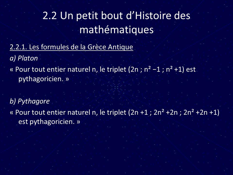 2.2 Un petit bout d'Histoire des mathématiques