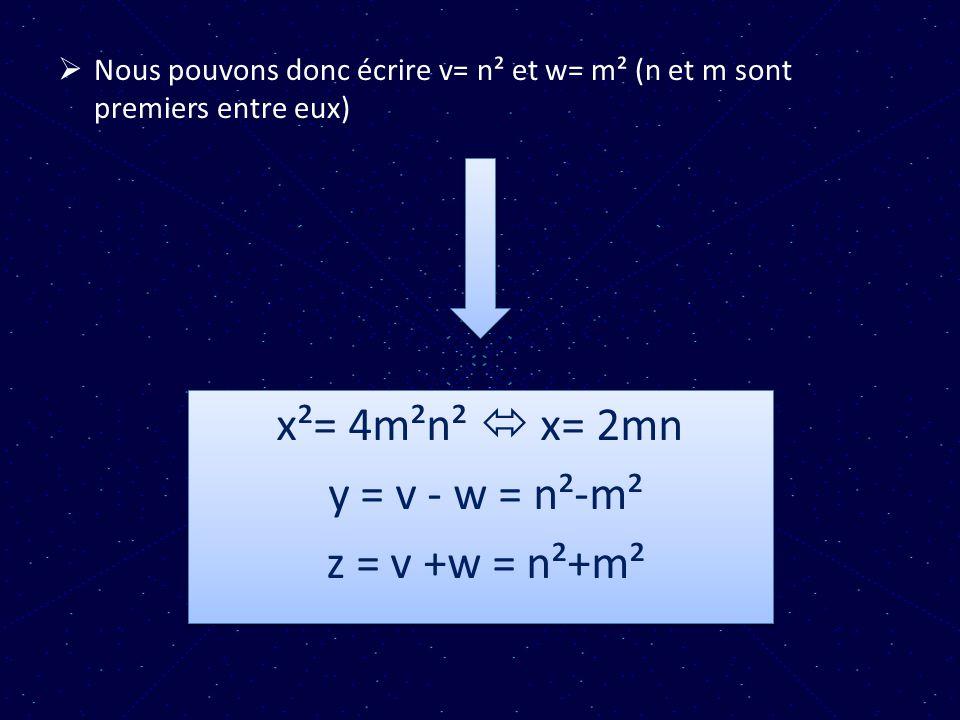 x²= 4m²n²  x= 2mn y = v - w = n²-m² z = v +w = n²+m²