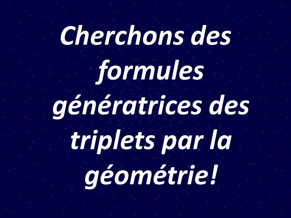 Cherchons des formules génératrices des triplets par la géométrie!