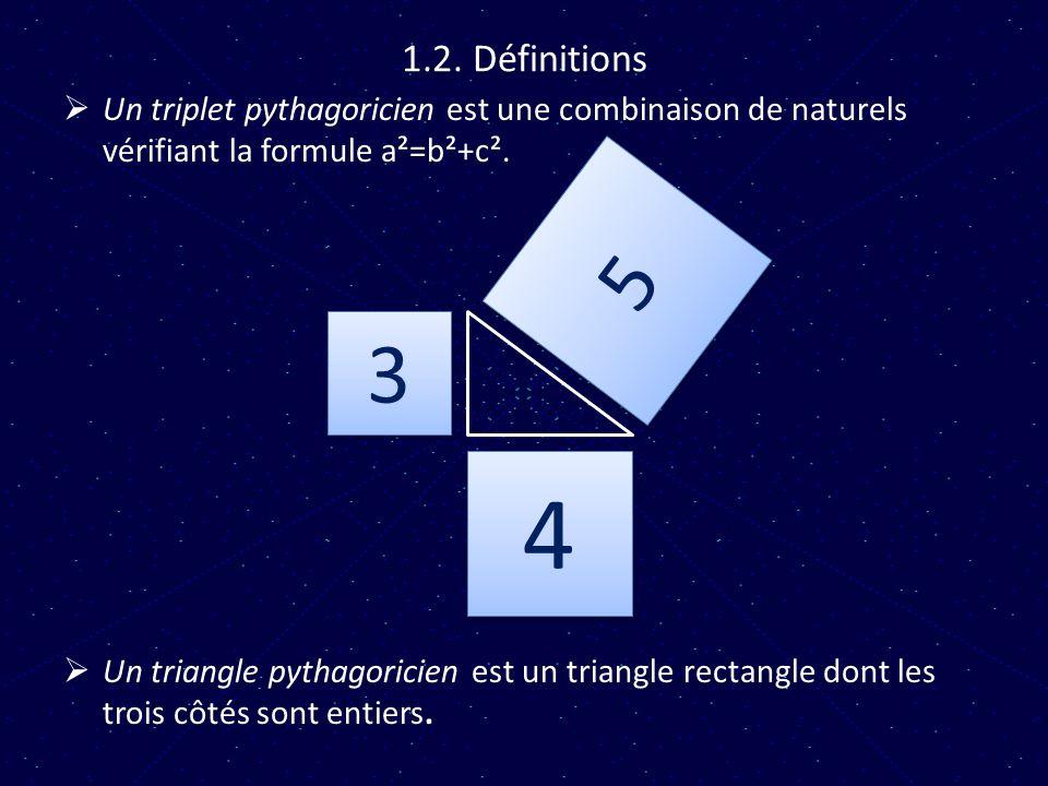 1.2. Définitions Un triplet pythagoricien est une combinaison de naturels vérifiant la formule a²=b²+c².