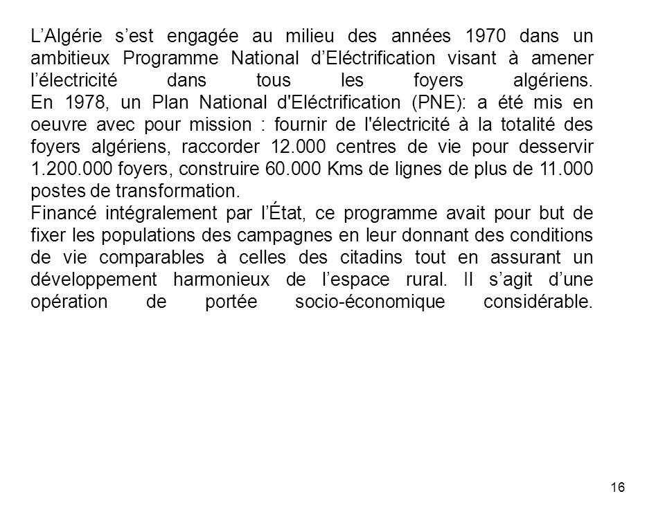L'Algérie s'est engagée au milieu des années 1970 dans un ambitieux Programme National d'Eléctrification visant à amener l'électricité dans tous les foyers algériens. En 1978, un Plan National d Eléctrification (PNE): a été mis en oeuvre avec pour mission : fournir de l électricité à la totalité des foyers algériens, raccorder 12.000 centres de vie pour desservir 1.200.000 foyers, construire 60.000 Kms de lignes de plus de 11.000 postes de transformation.