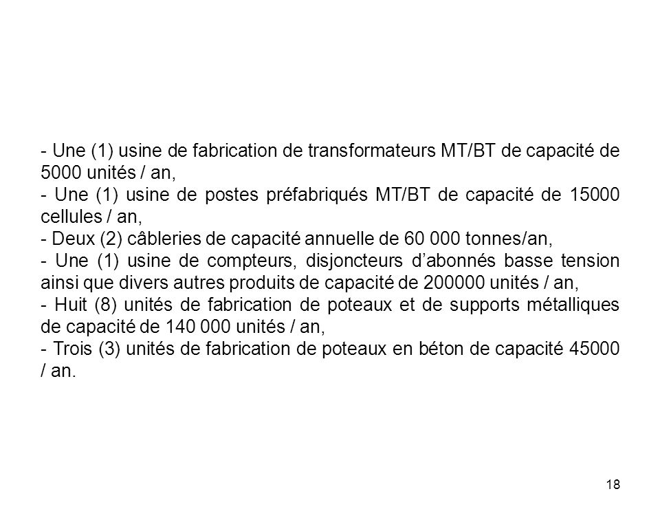 - Une (1) usine de fabrication de transformateurs MT/BT de capacité de 5000 unités / an,