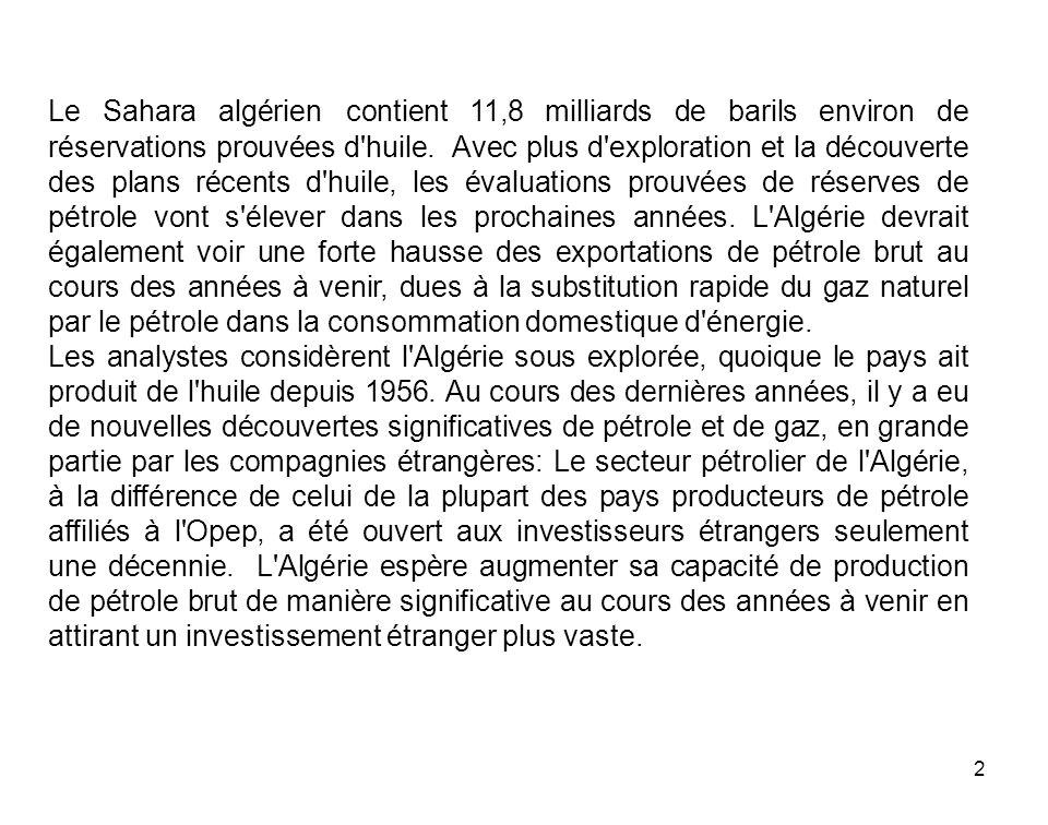 Le Sahara algérien contient 11,8 milliards de barils environ de réservations prouvées d huile. Avec plus d exploration et la découverte des plans récents d huile, les évaluations prouvées de réserves de pétrole vont s élever dans les prochaines années. L Algérie devrait également voir une forte hausse des exportations de pétrole brut au cours des années à venir, dues à la substitution rapide du gaz naturel par le pétrole dans la consommation domestique d énergie.