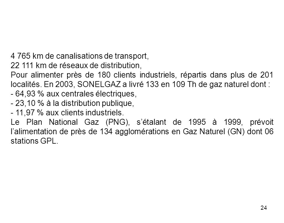 4 765 km de canalisations de transport,