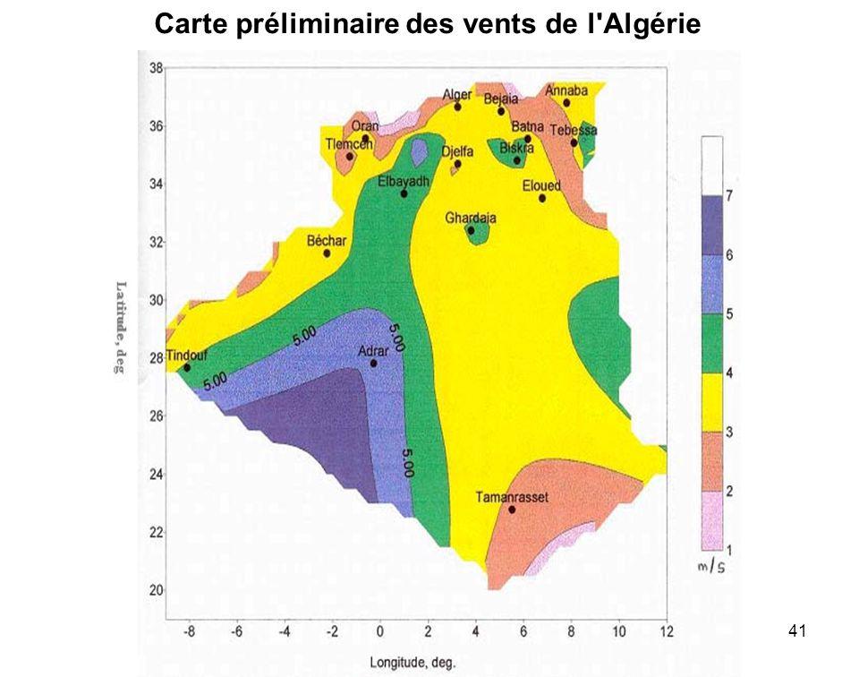 Carte préliminaire des vents de l Algérie