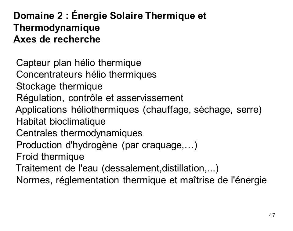 Domaine 2 : Énergie Solaire Thermique et Thermodynamique