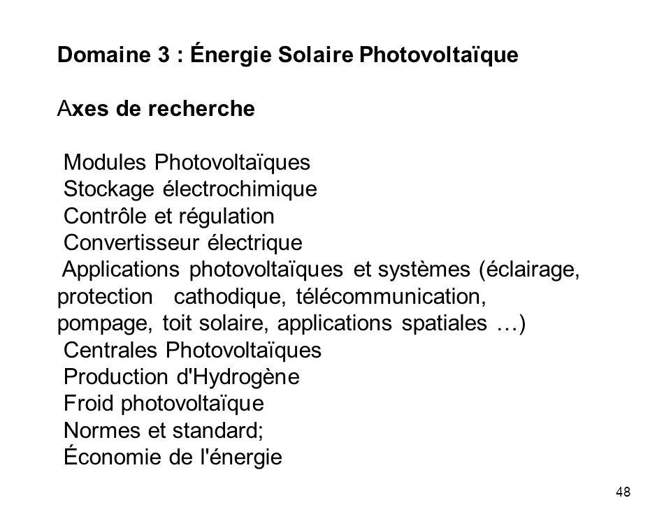 Domaine 3 : Énergie Solaire Photovoltaïque