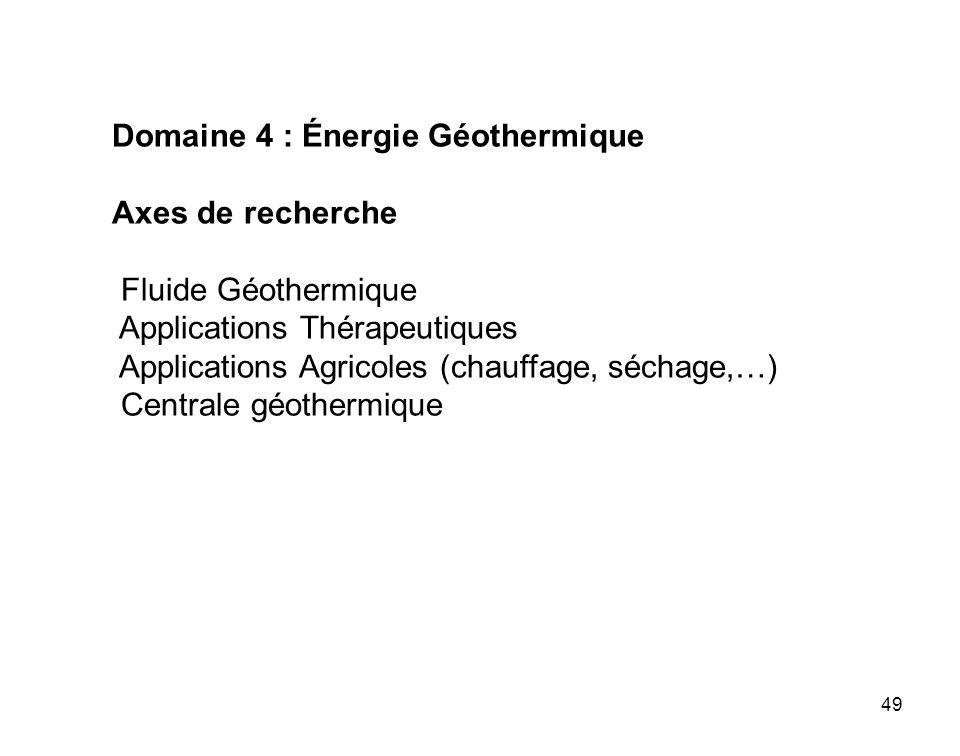 Domaine 4 : Énergie Géothermique