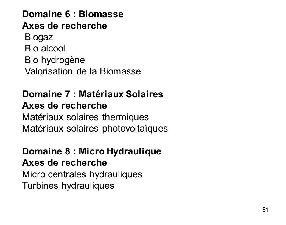 Domaine 6 : Biomasse