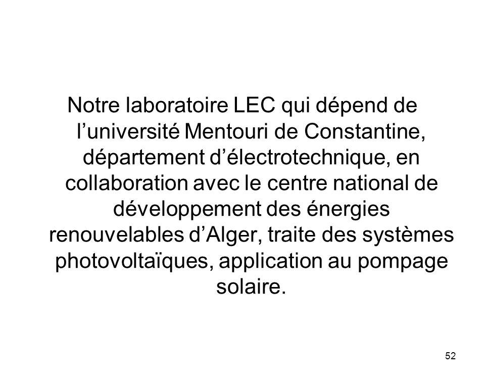 Notre laboratoire LEC qui dépend de l'université Mentouri de Constantine, département d'électrotechnique, en collaboration avec le centre national de développement des énergies renouvelables d'Alger, traite des systèmes photovoltaïques, application au pompage solaire.