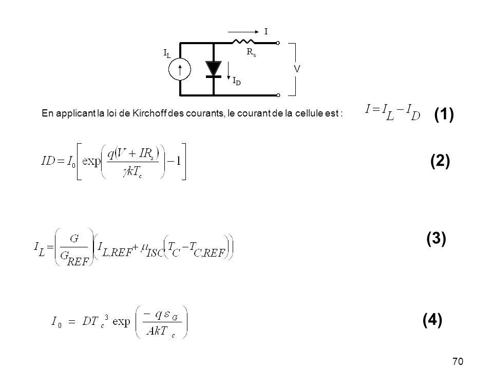 (1) En applicant la loi de Kirchoff des courants, le courant de la cellule est : (2) (3) (4)