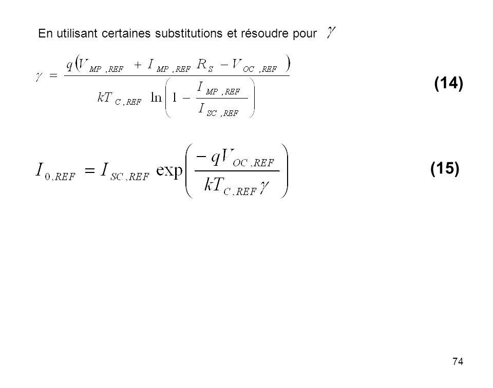 En utilisant certaines substitutions et résoudre pour