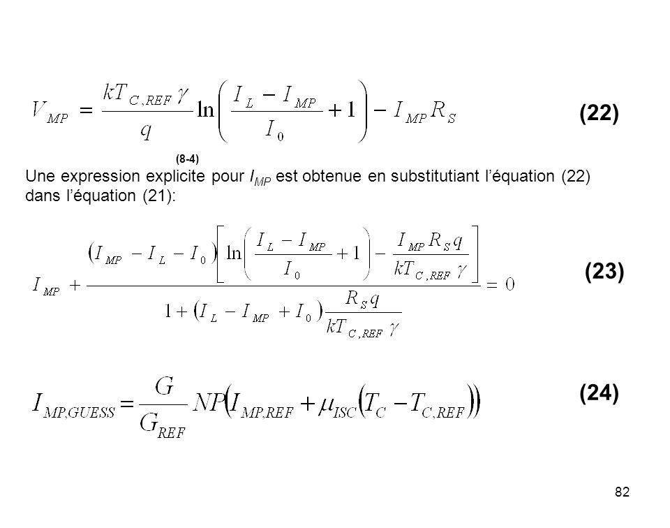 (22) (8-4) Une expression explicite pour IMP est obtenue en substitutiant l'équation (22) dans l'équation (21):