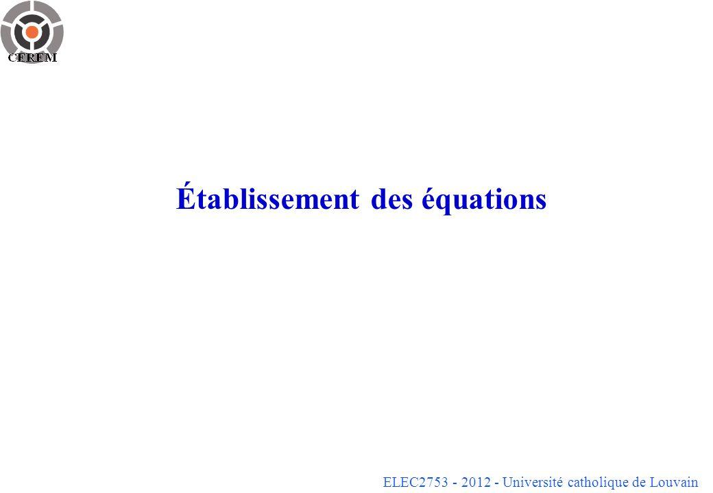 Établissement des équations