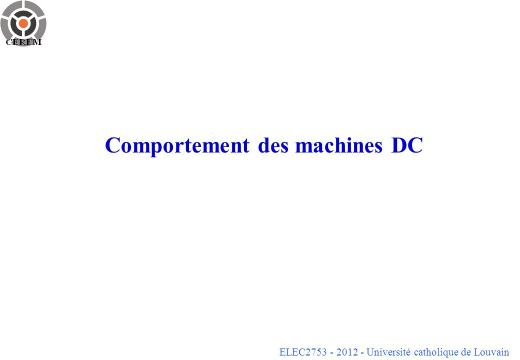 Comportement des machines DC